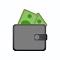 Bargeld mit Portemonnaie